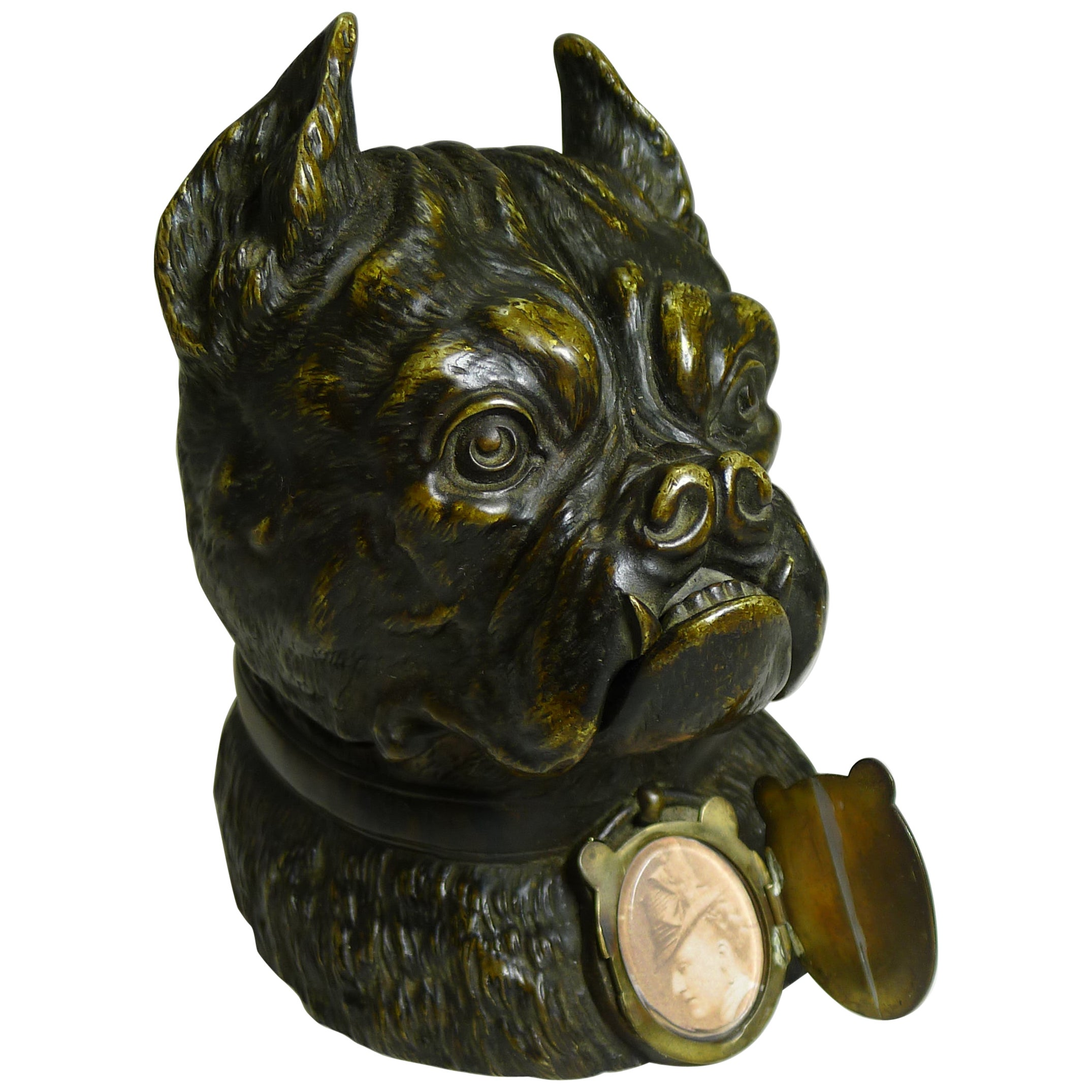Magnificent Large Antique English Bronze Bulldog Inkwell, circa 1890, Dogs