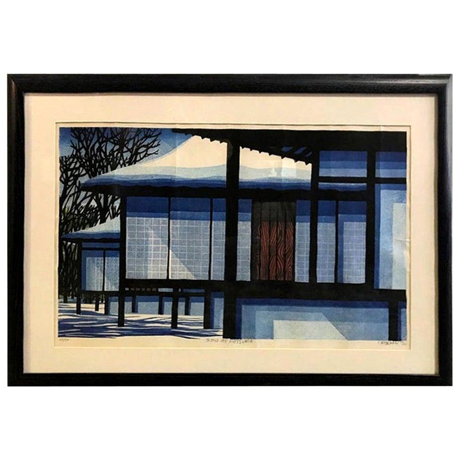 Clifton Karhu Limited Edition Japanese Woodblock Print Snow at Katsura, 1970