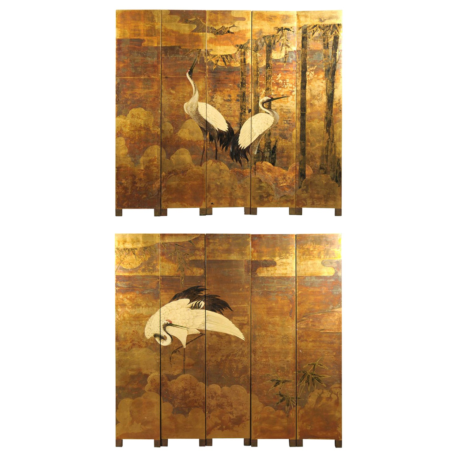 20th Century Oriental 10-Panel Lacquered Screen with Cranes & Bamboo, Gold Tones