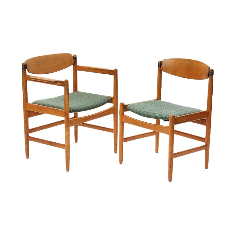 1950s Scandinavian Modern Pivot Back Oak Dining Chairs