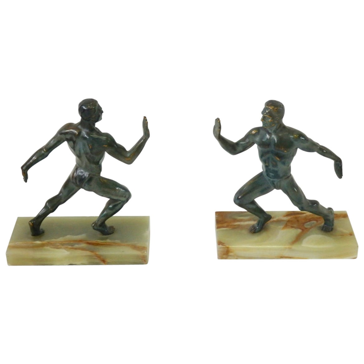 Pair of Bronze on Marble Greek Olympian Male Figure Bookends