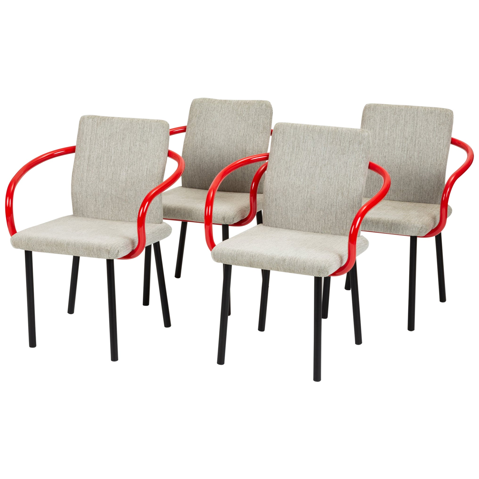 Set of Four Ettore Sottsass for Knoll Mandarin Chairs with Red Arms