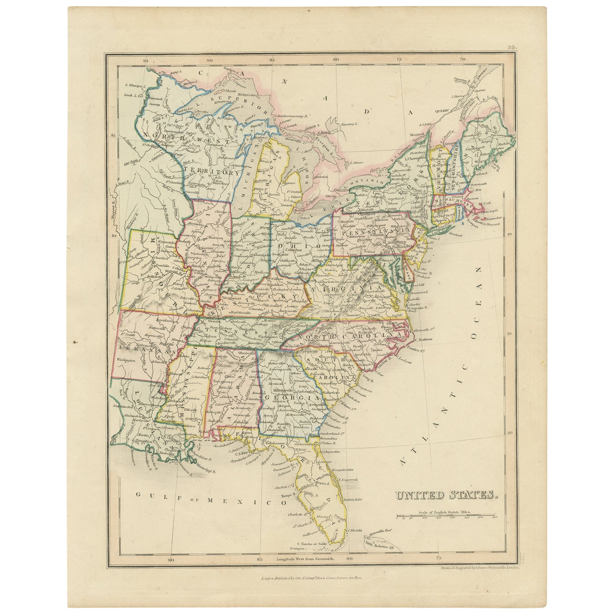 Antique Map of the United States by Dower, circa 1845