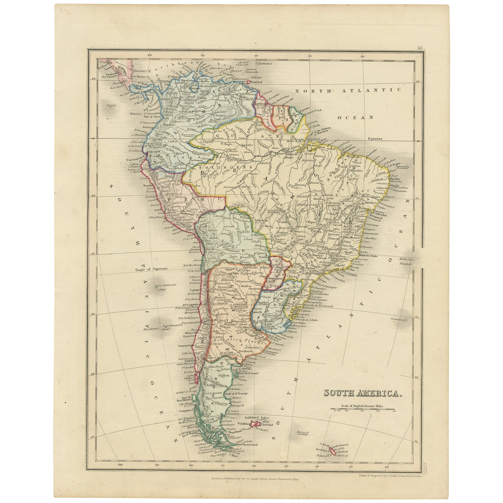 Antique Map of South America by Dower, 'circa 1845'