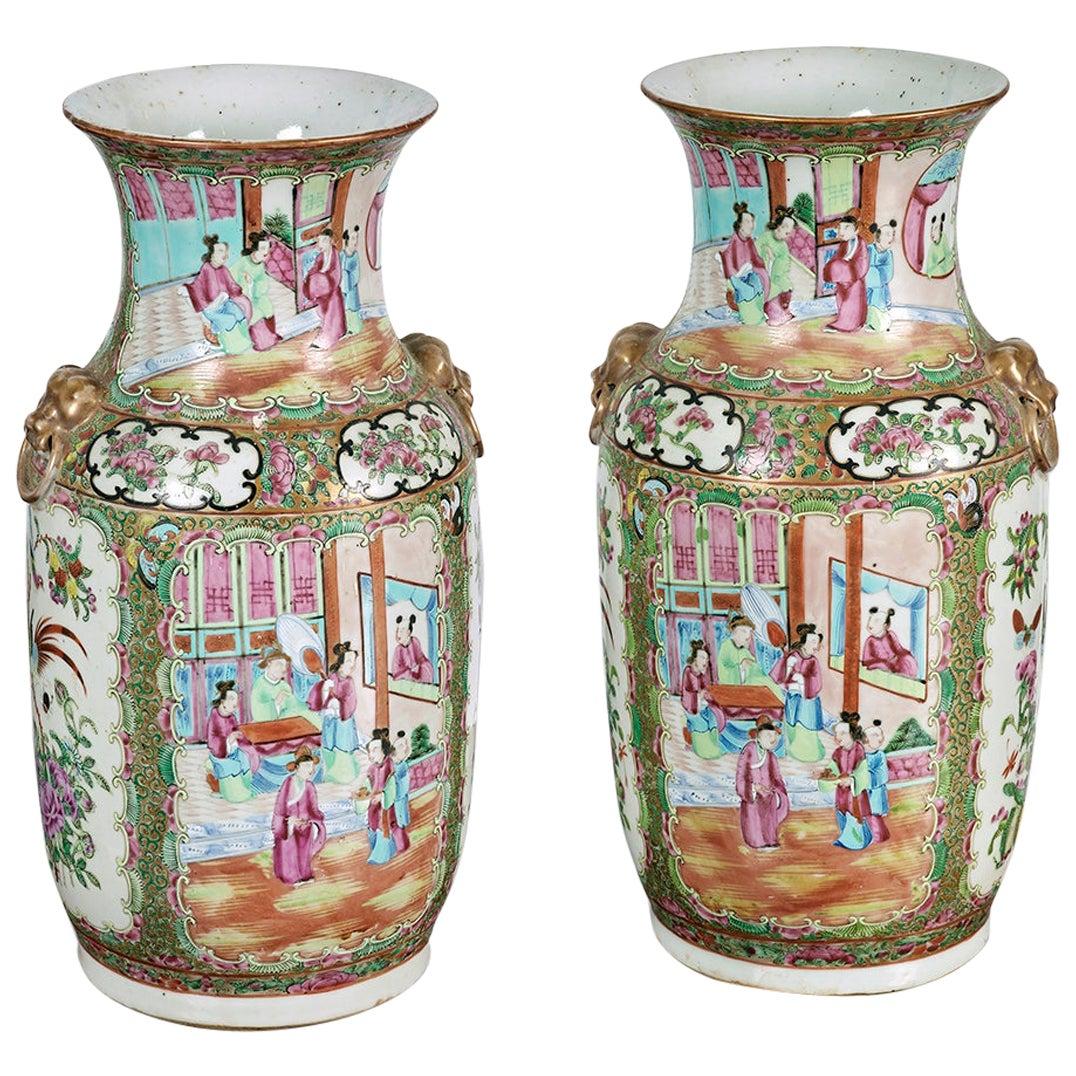 Pair of 19th Century Cantonese Vases