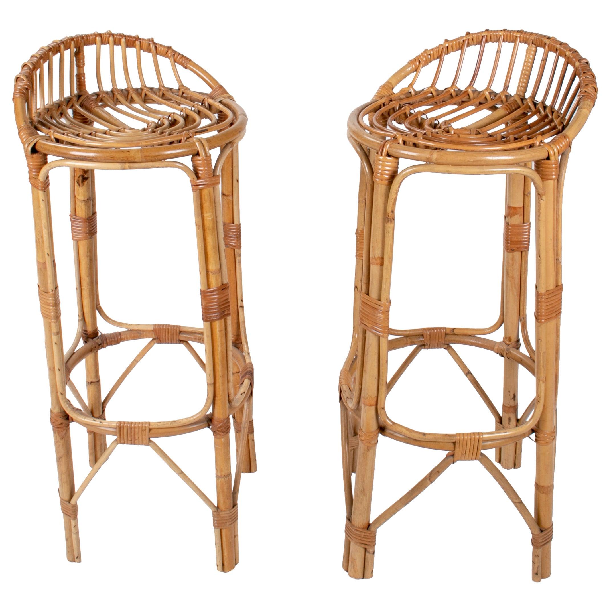 1970s Spanish Handmade Pair of Wicker and Bamboo Stools