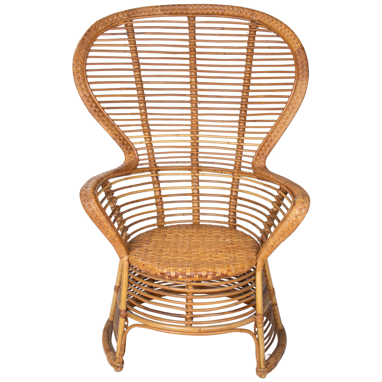 1970s Spanish Handmade Wicker and Bamboo Armchair