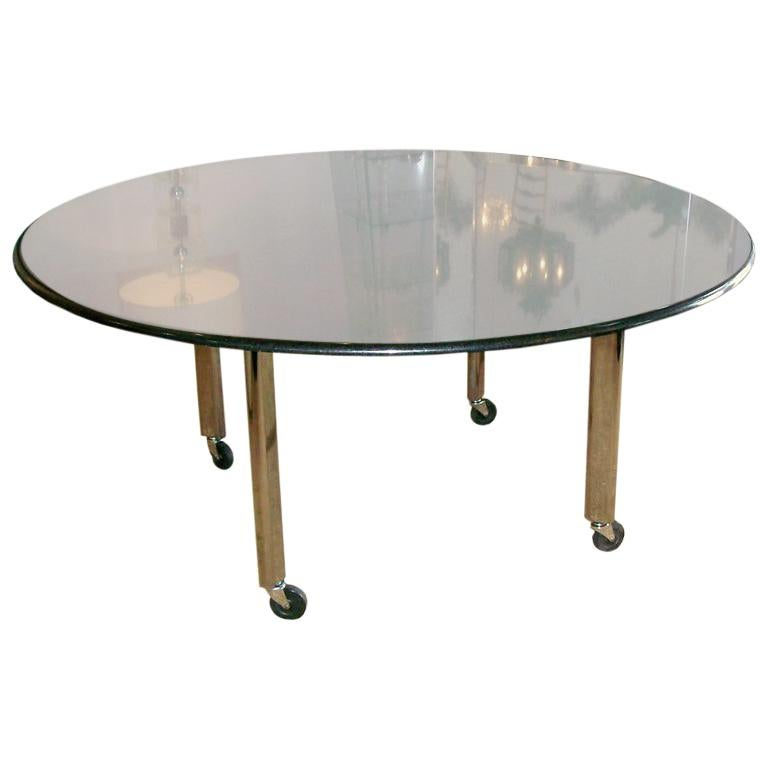 Joe D'urso for KNOLL International Black Granite Top Round Dining Table