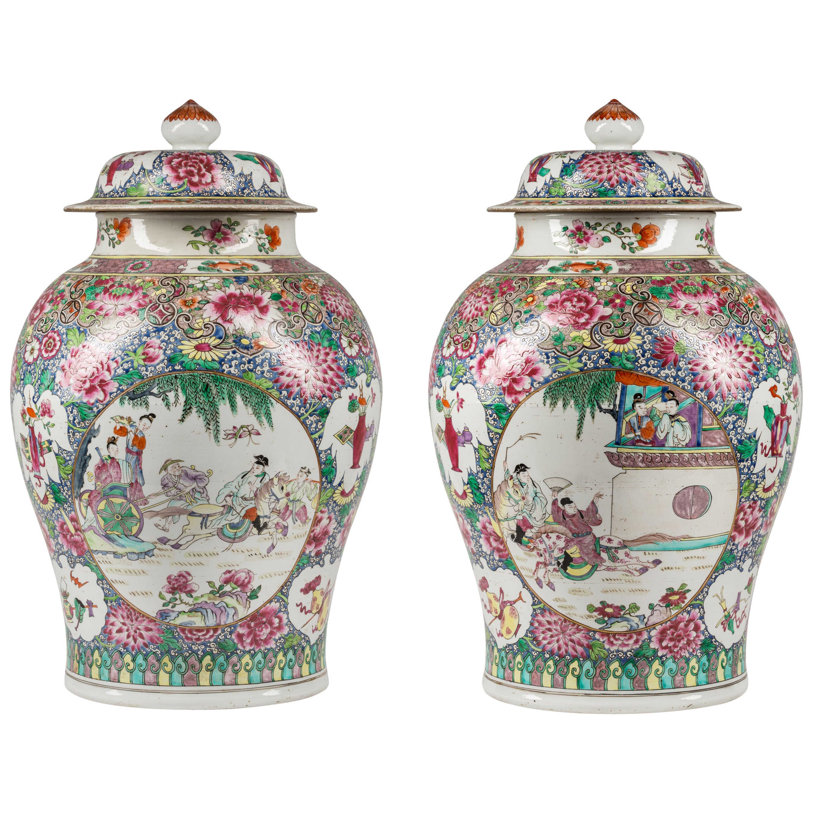 Pair of 19th Century Samson Edmé et Cie Porcelain Jars with Chinese Motif