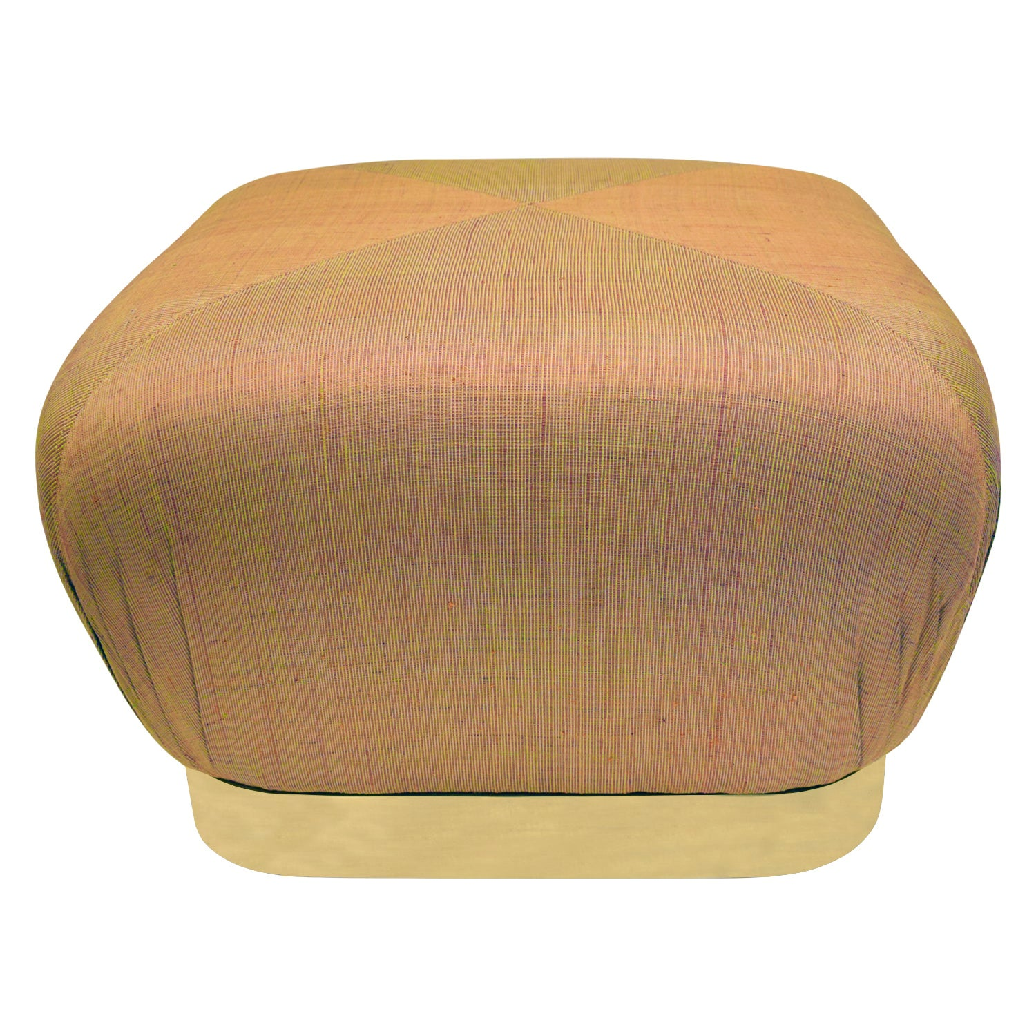 "Karl Springer ""Souffle Ottoman"" in Brass and Silk Upholstery, 1980s"