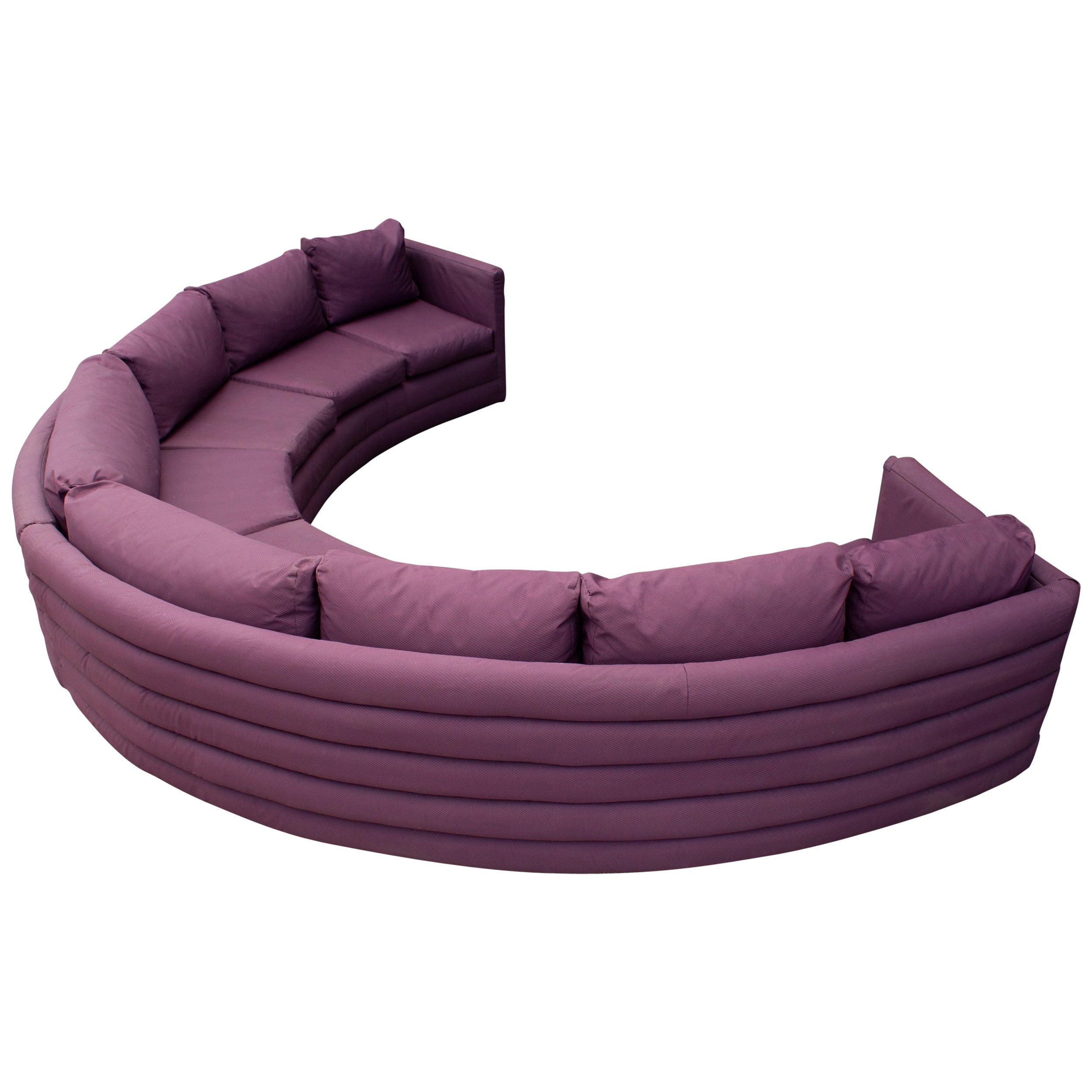 Milo Baughman For Thayer Coggin 1970s Channel Back Semi-Circular Sectional Sofa
