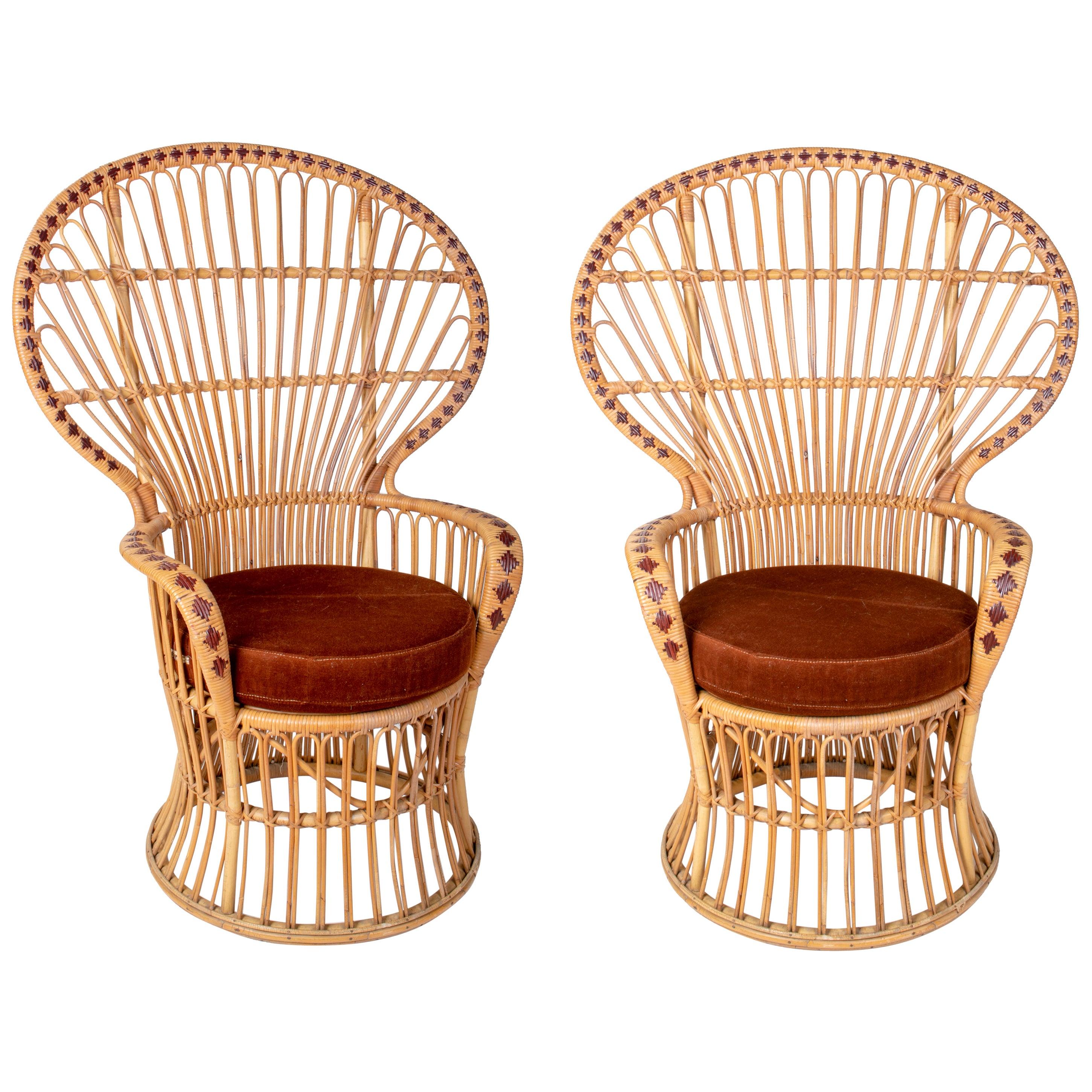 1970s Pair of Spanish Handmade Wicker and Bamboo Armchairs