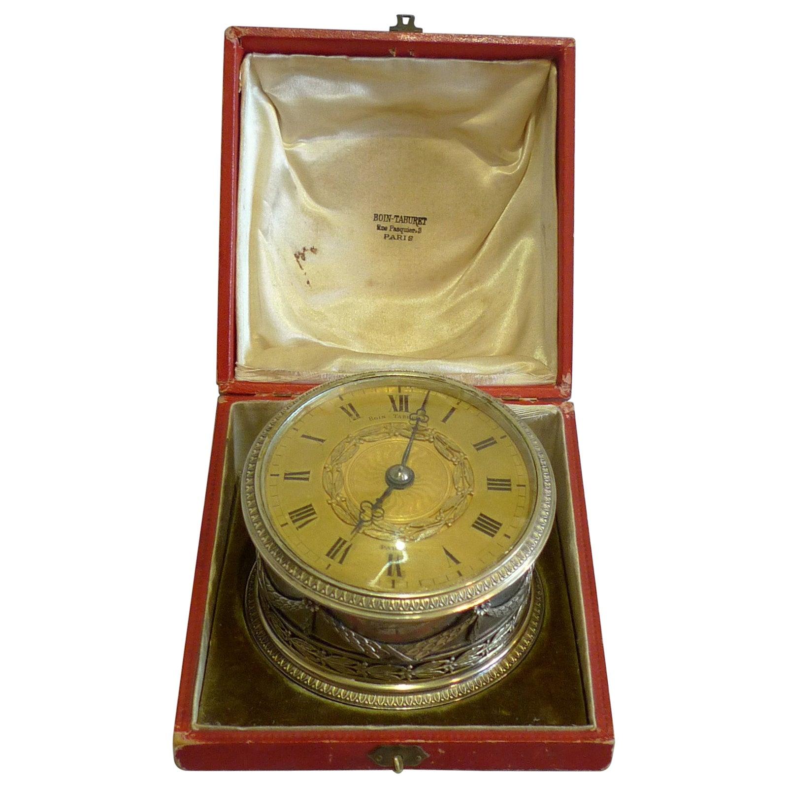 French Silver Desk Clock by Boin-Taburet, Paris, in Original Case