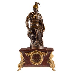 Marble, Gilt and Patinated Bronze Clock Set by Ferdinand Barbedienne