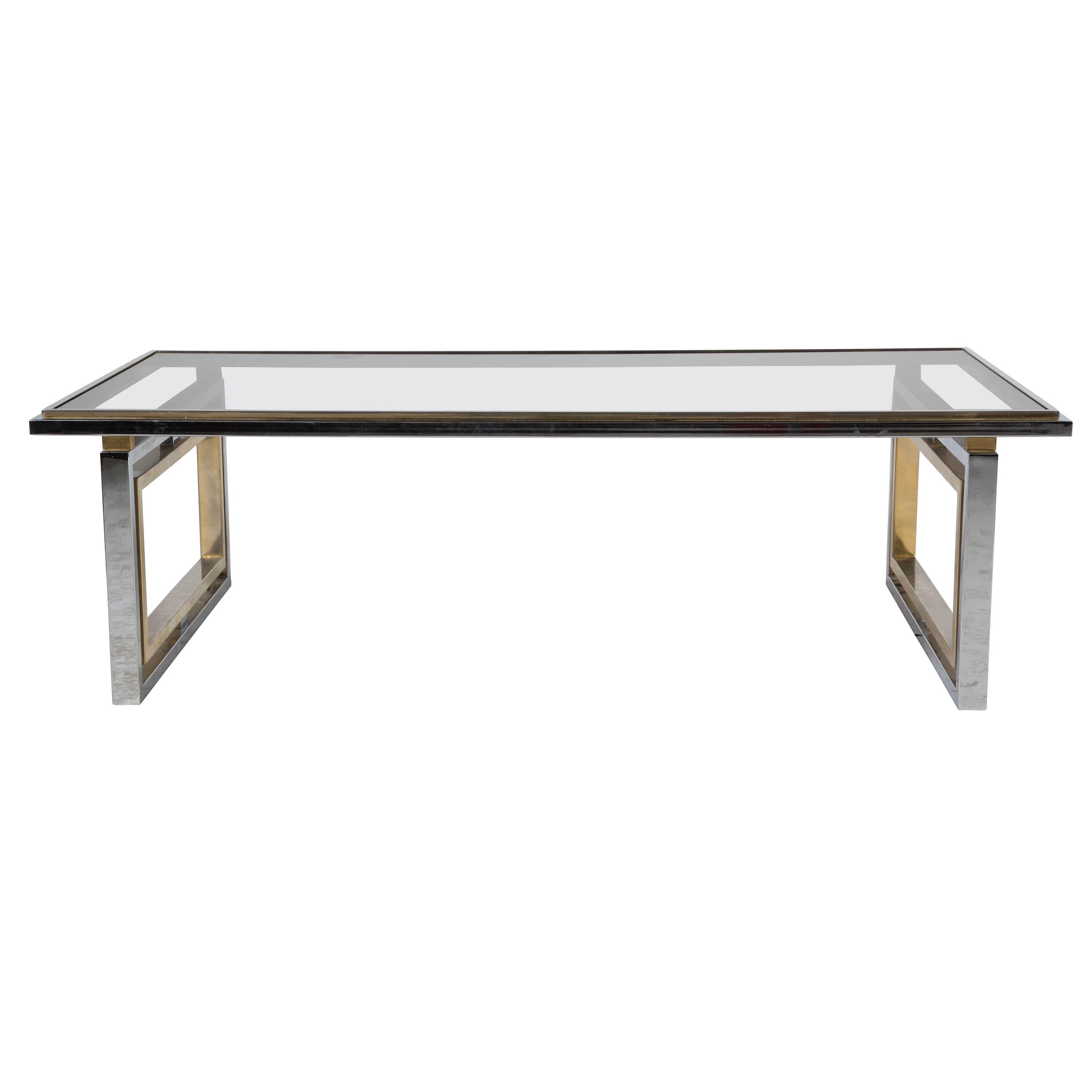 French 1960s Brass and Chrome Coffee Table