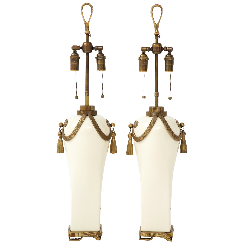 Stunning Pair of Art Deco Style Ceramic Lamps