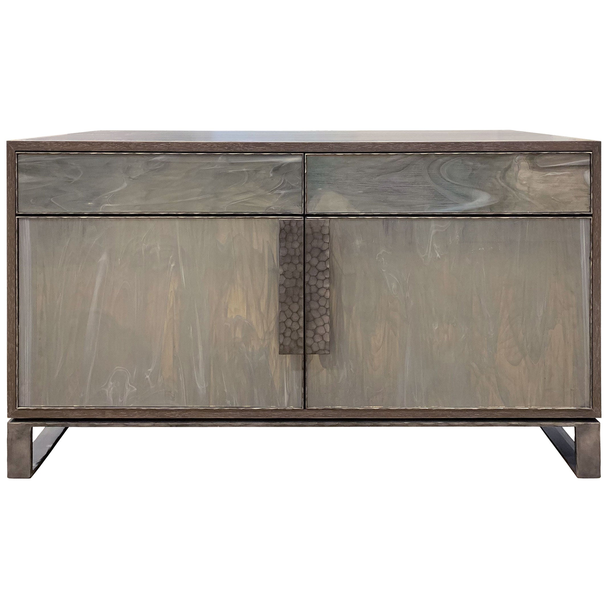 Customizable Chelsea Gray Glass Credenza with Hammered Metal Base by Ercole Home