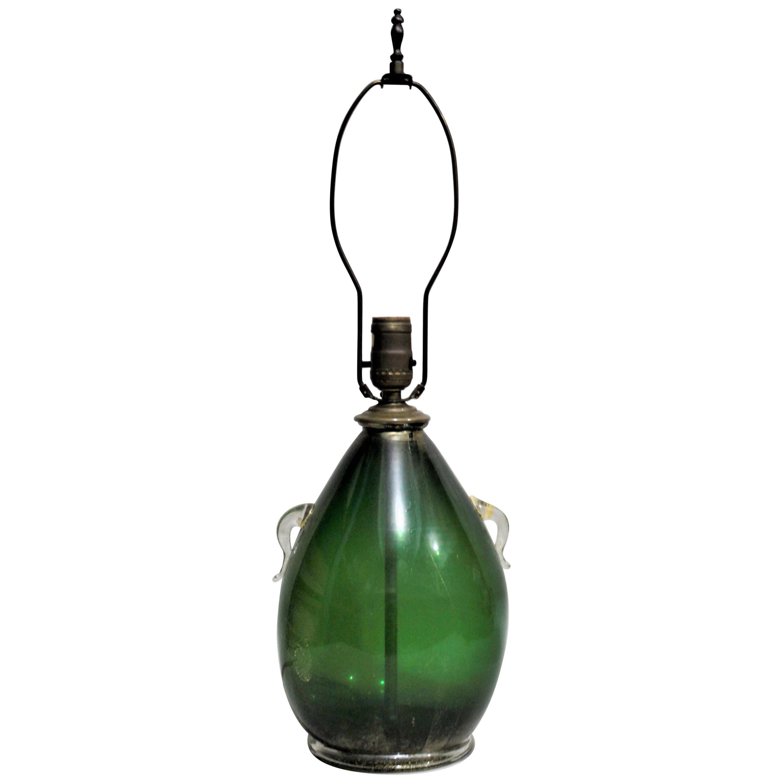 Mid-Century Modern Murano Dark Green Art Glass Table Lamp