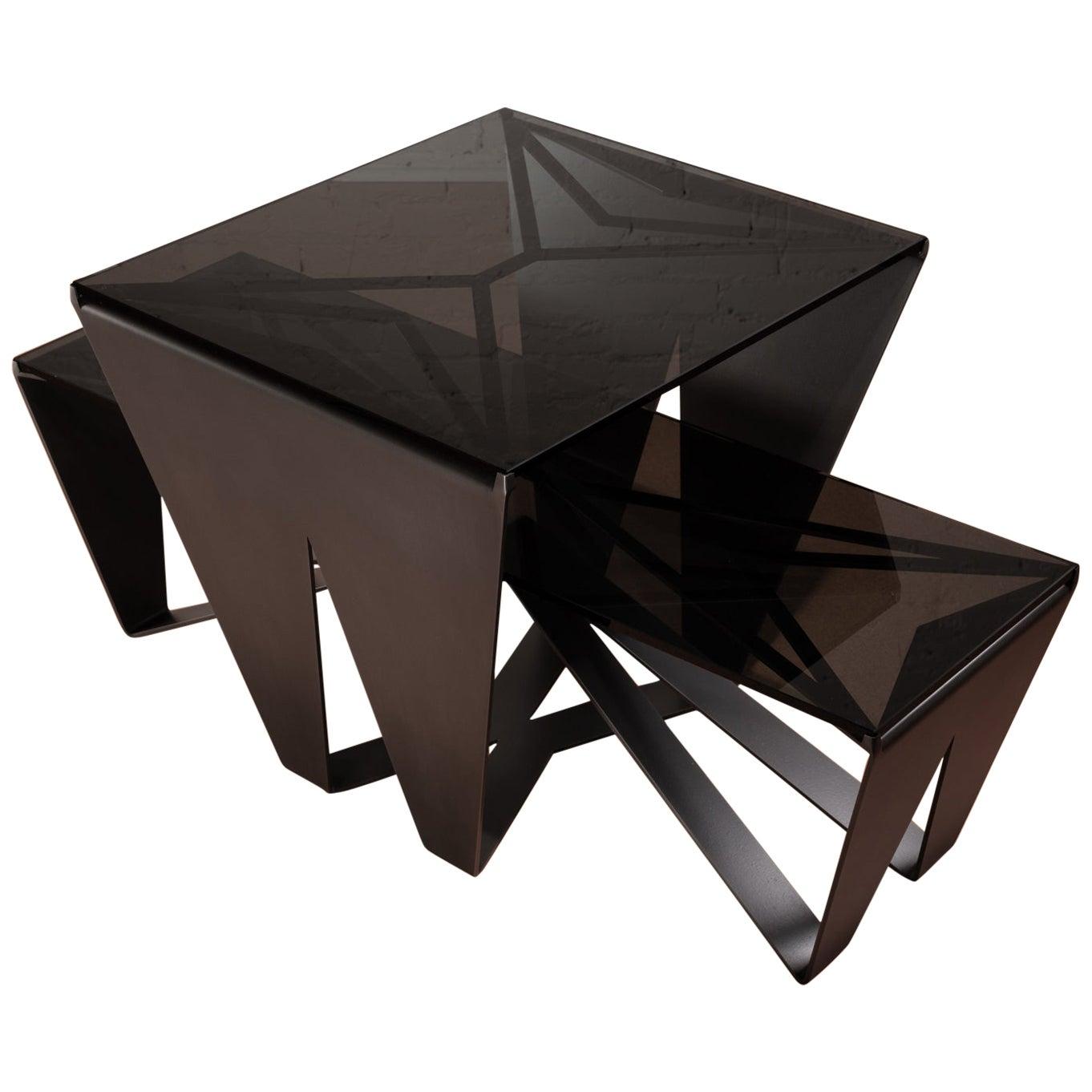 Nesting Coffee Tables, Blackened Steel, Gray Glass, Geometric, Force/Collide