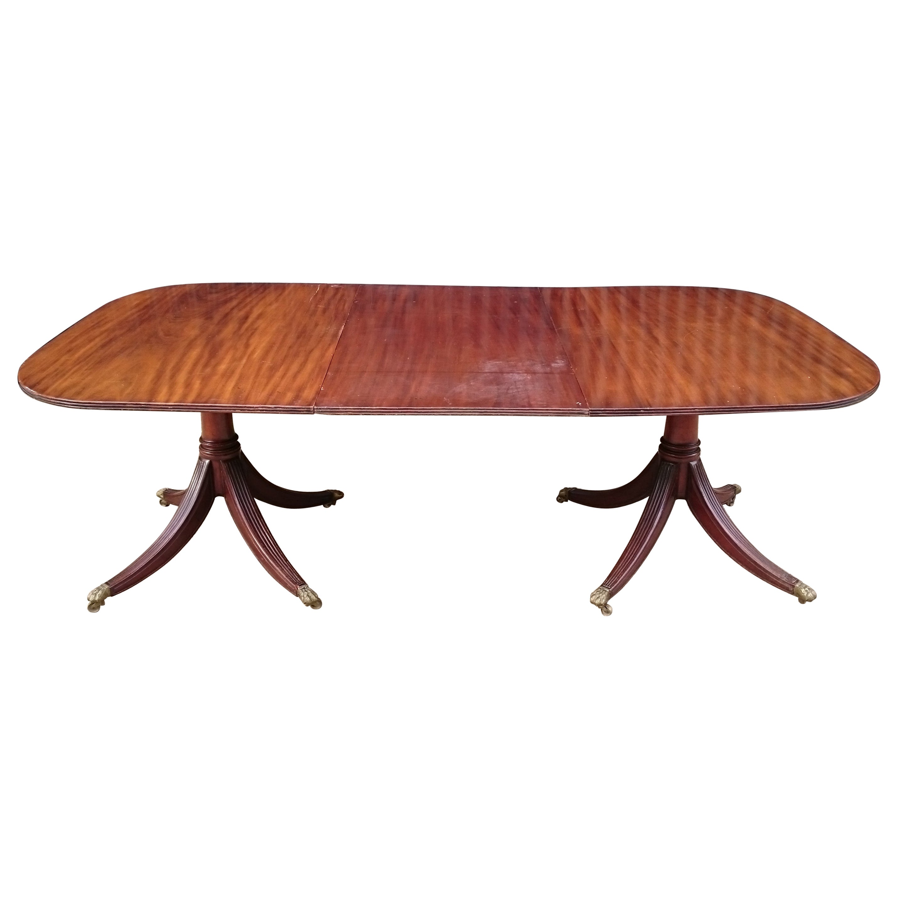 19th Century George III Period Mahogany Twin Pedestal Antique Dining Table