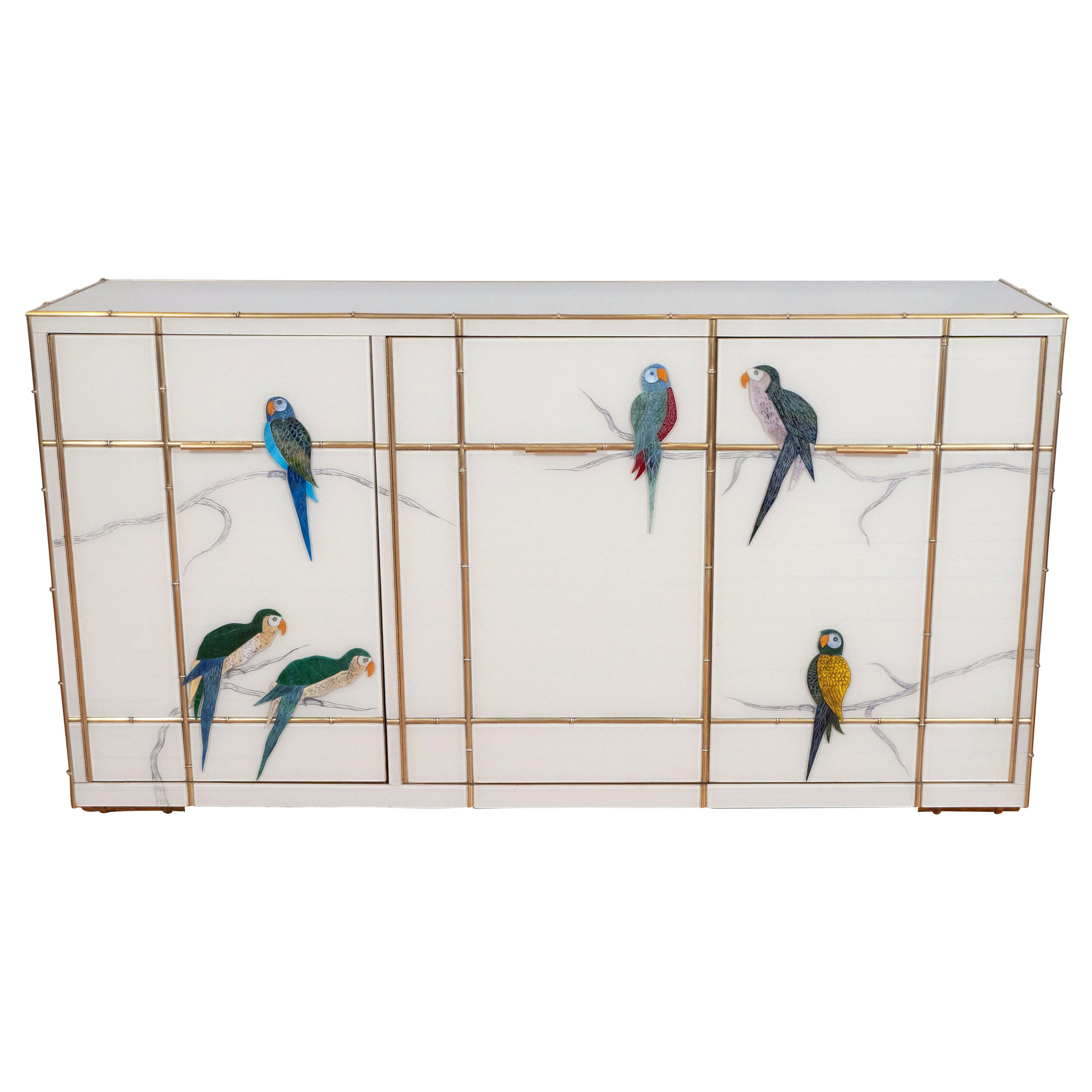 Custom Brass Bamboo Inlay and Ivory Murano Glass Parrot Sideboard, Italy