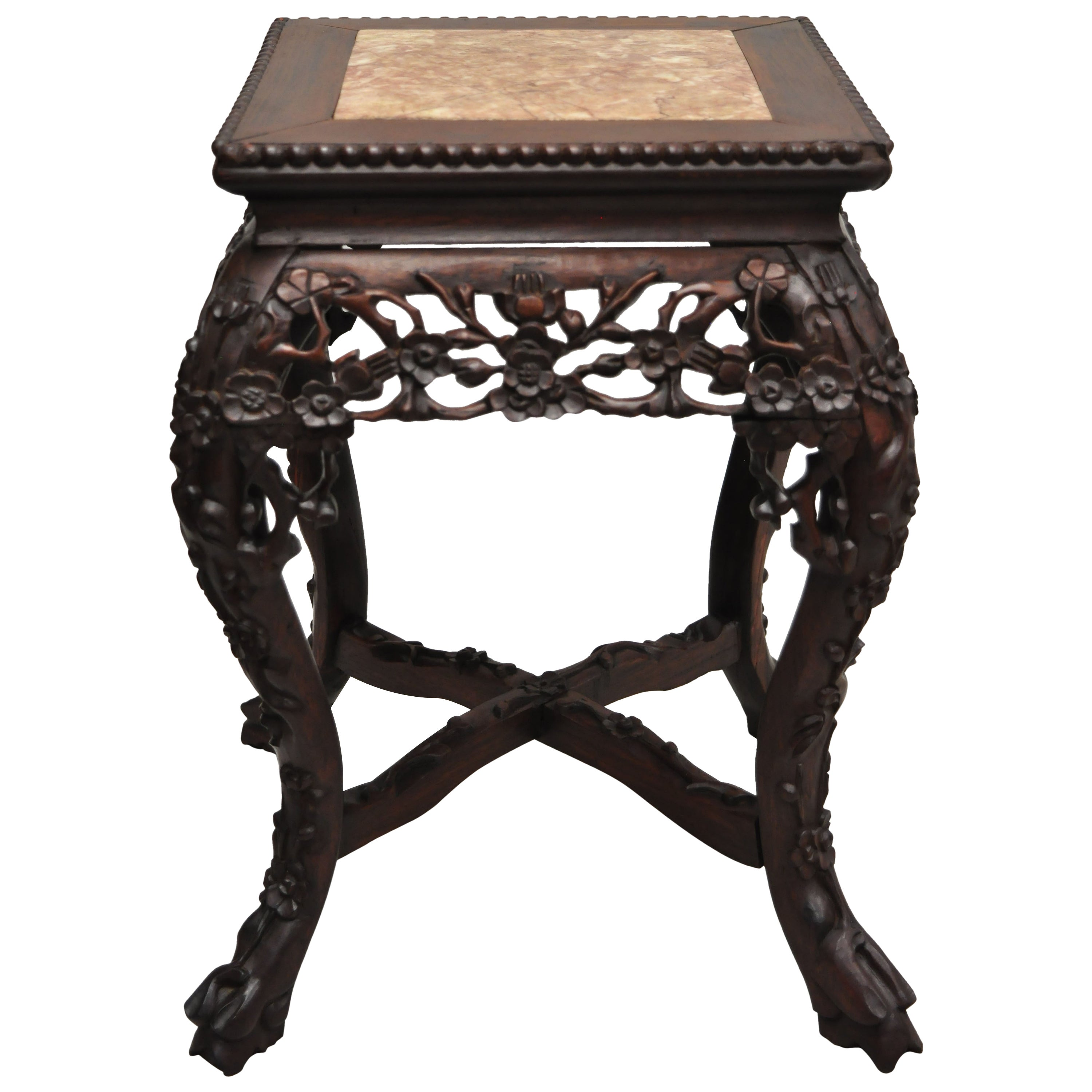 Antique Carved Hardwood Rosewood Marble-Top Chinese Pedestal Table Plant Stand D