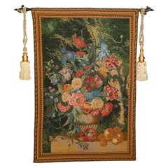 Large Belgian or Flemish Style Floral Still Life Wall Tapestry, 20th Century