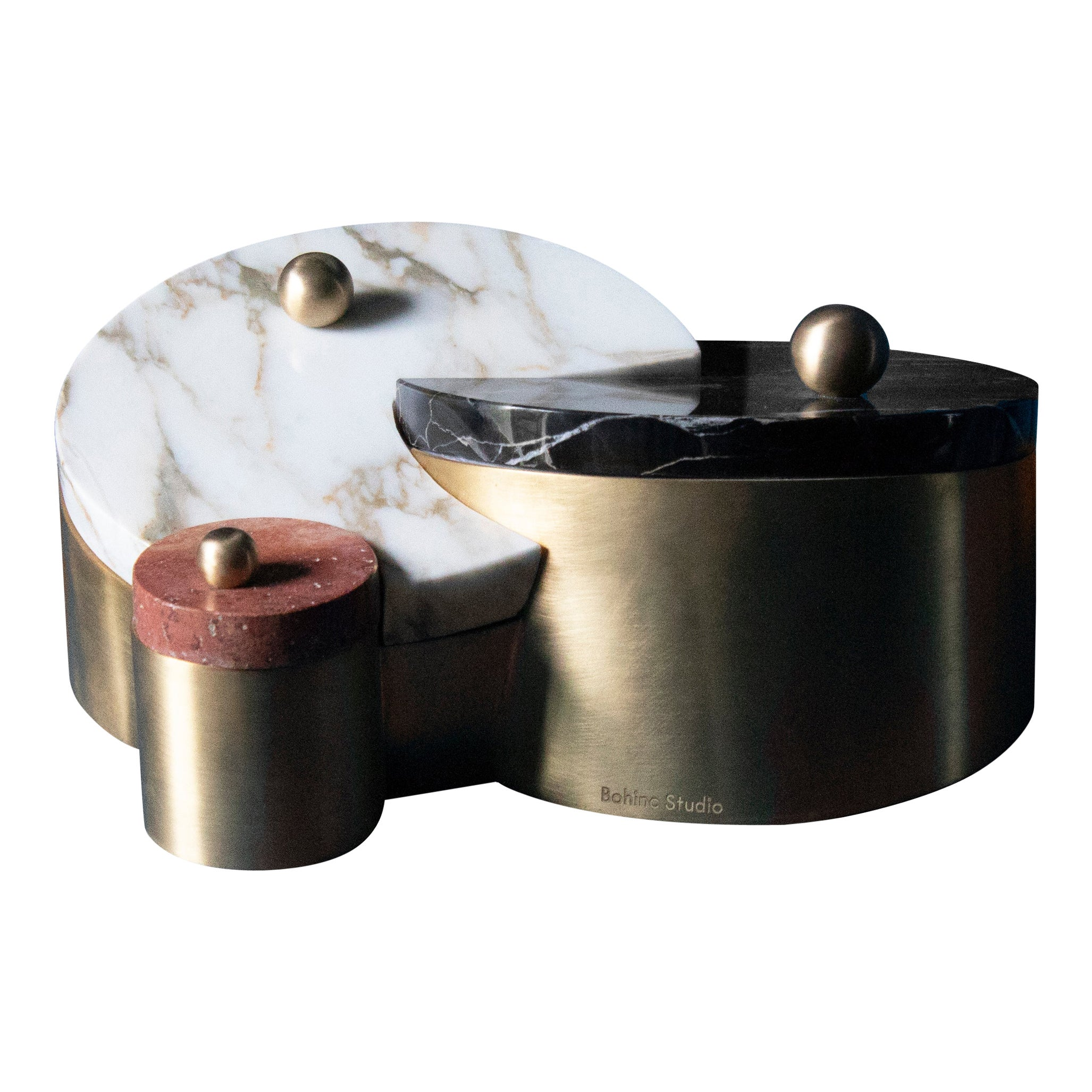 Saturn and Pluto Box, Marble and Brass, by Bohinc Studio