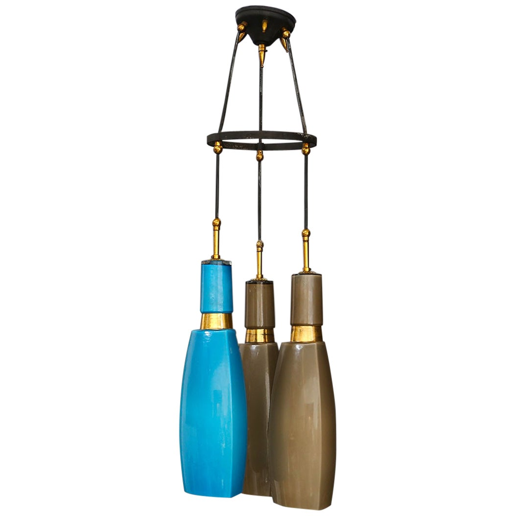 Italian Pendant Midcentury by Vistosi in Colored Opaline Glass and Brass, 1960s
