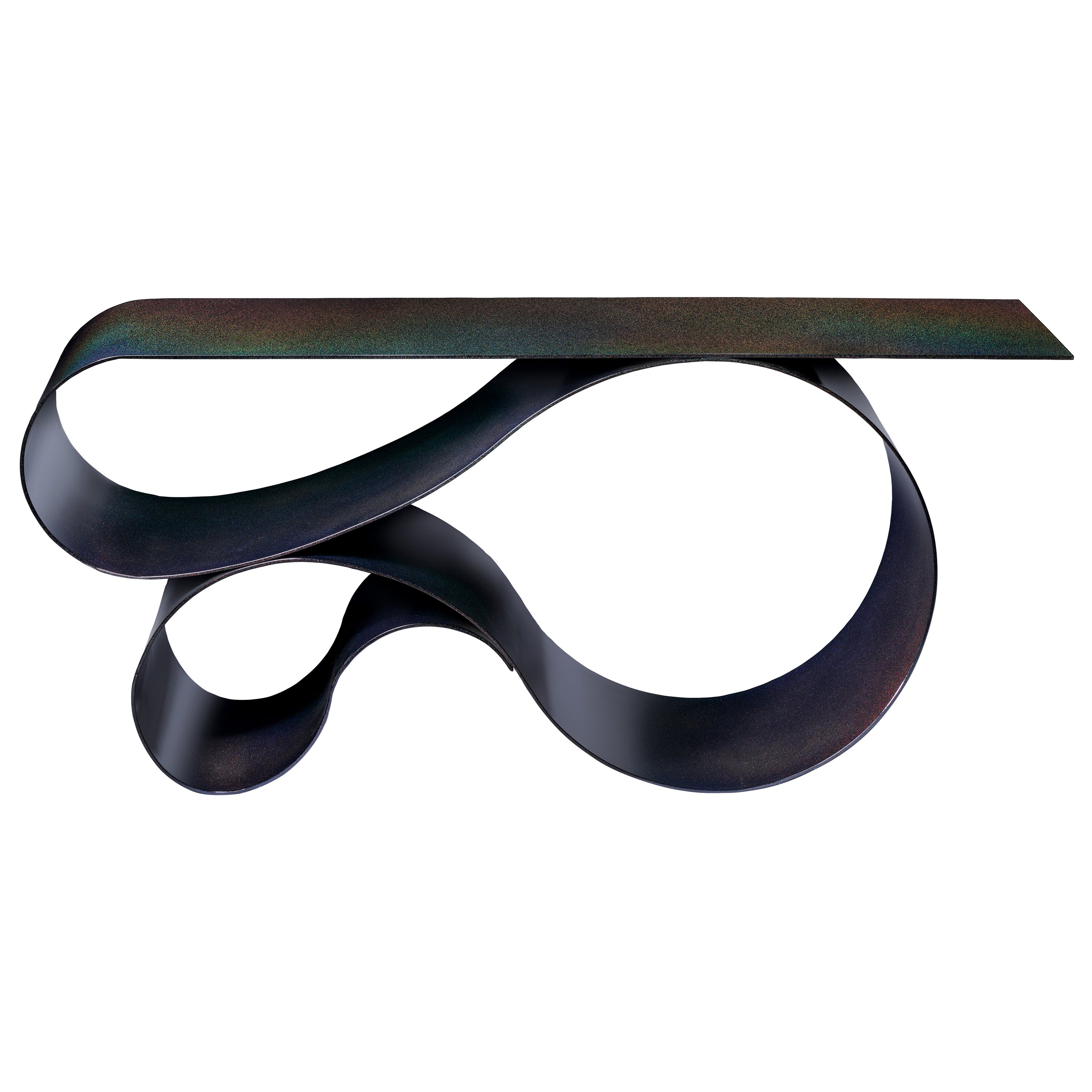 Whorl Console, in Black Iridescent Powder Coated Aluminum by Neal Aronowitz