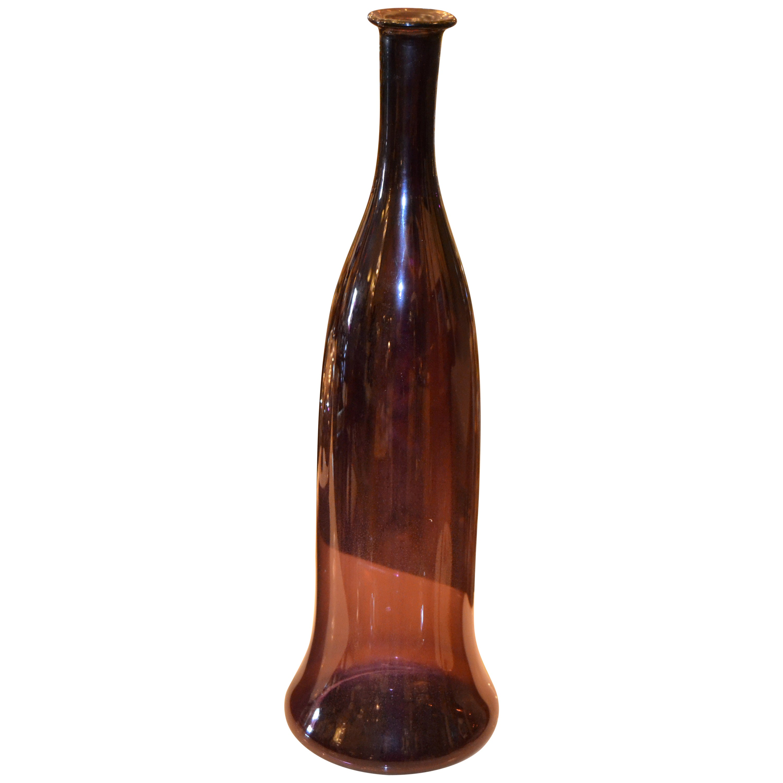 Mid-Century Modern Hand Blown Amethyst Purple Art Glass Vase, Vessel, Decanter