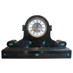 Brocot and Delettrez Style Carved Black Slate Clock with Inlaid Malachite, 1860s