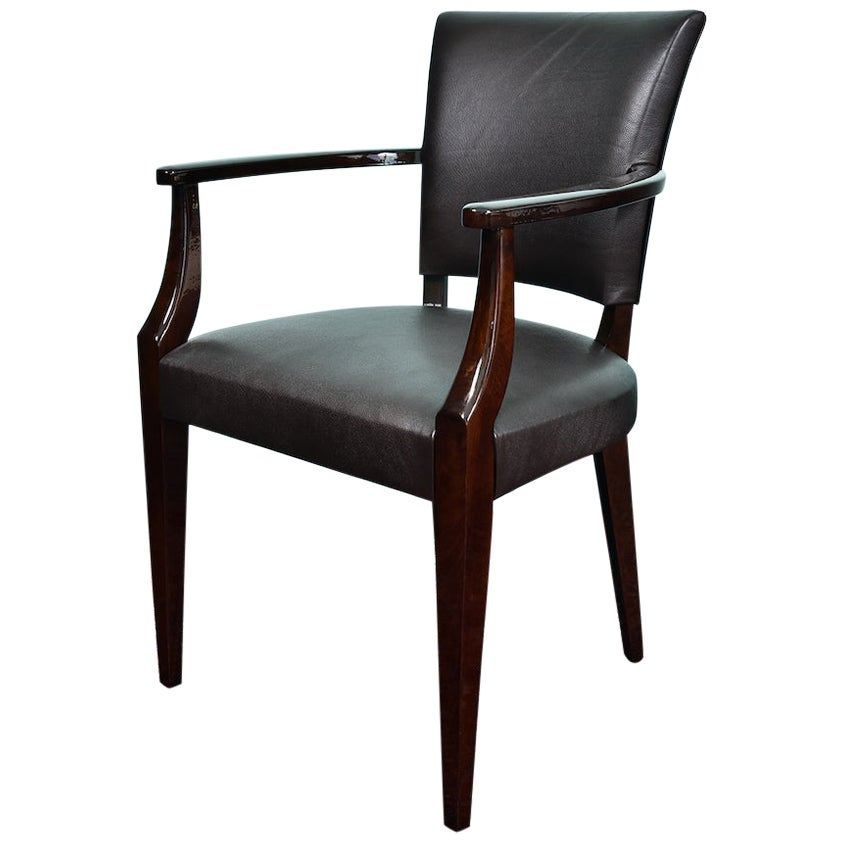 French Art Deco Office Chair in Walnut Wood