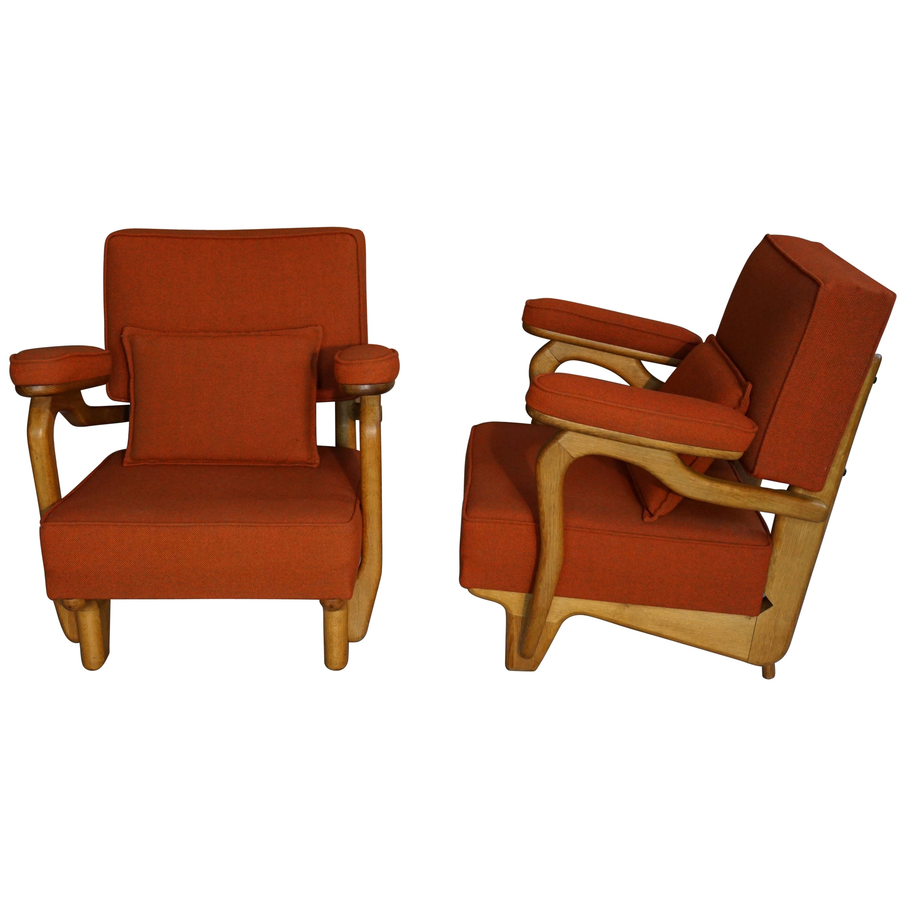 French 1950s-1960s Design by Guillerme & Chambron Oak Wooden Pair of Armchairs