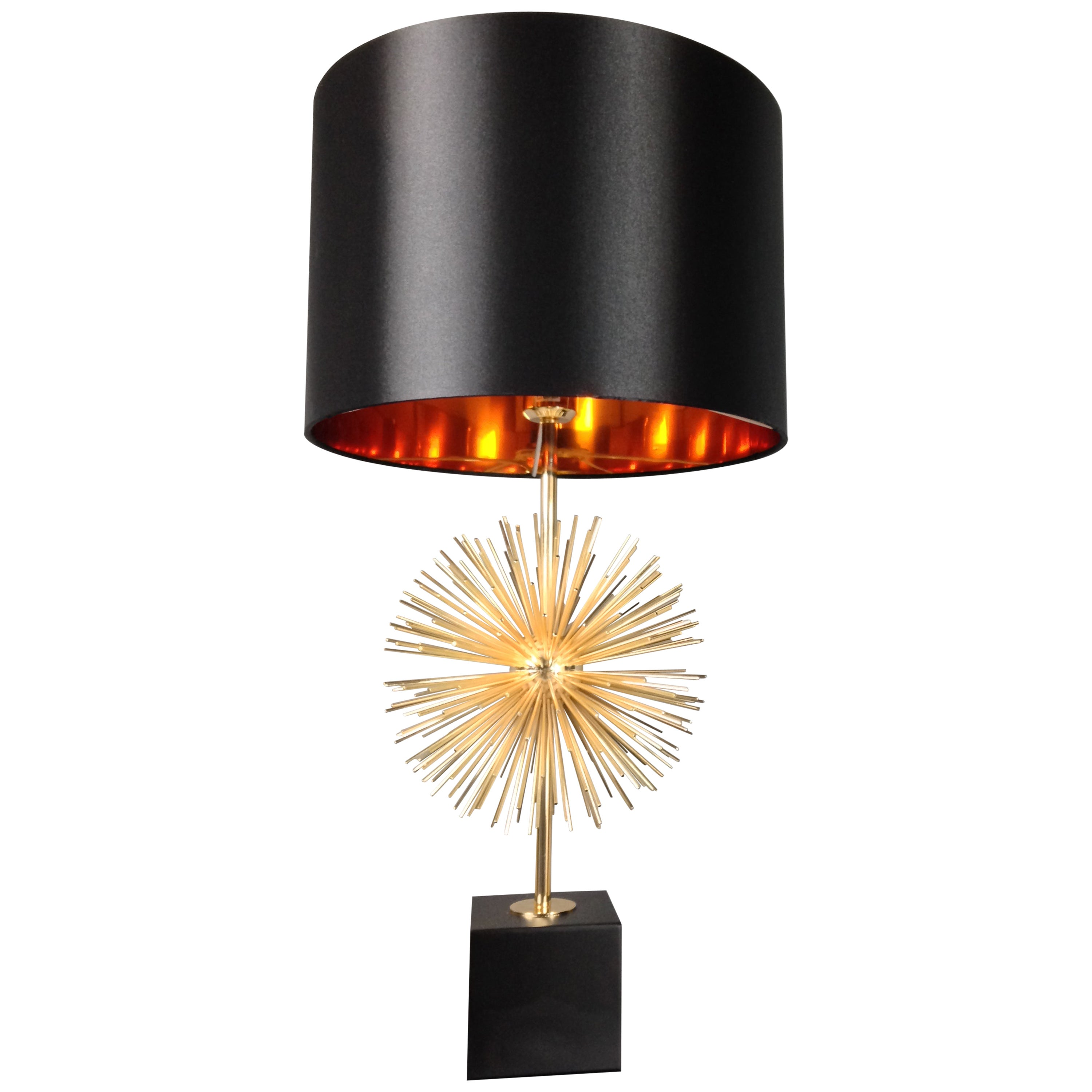 Brass Metal and Black Shade Table Lamp