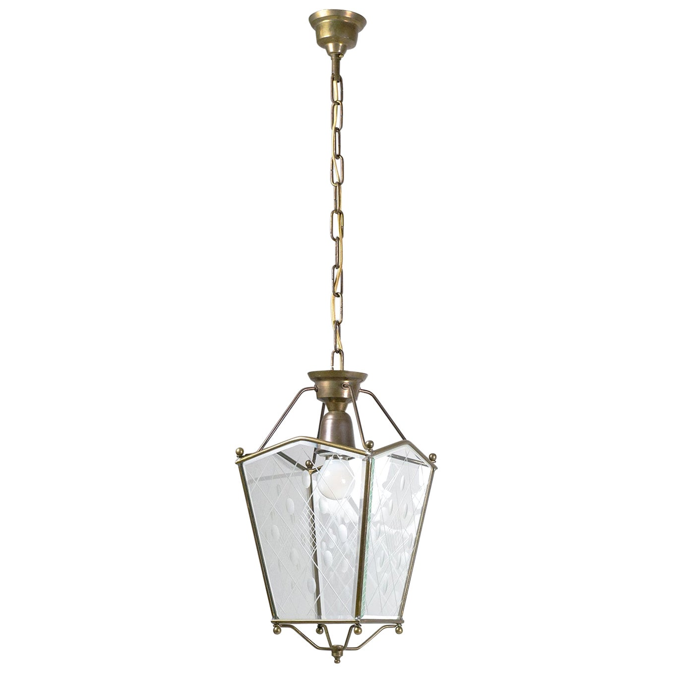 Italian 1940s Cut Glass Lantern