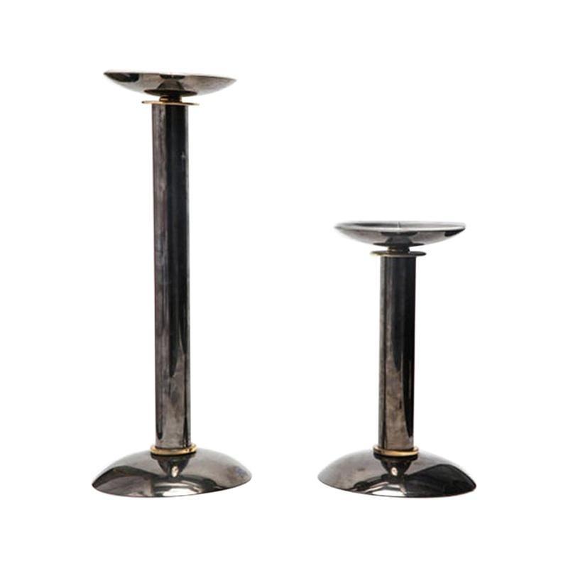 Modern Pillar Candlesticks in Metal & Brass