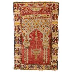Distressed Vintage Turkish Yastik Oushak Rug, Turkish Prayer Rug