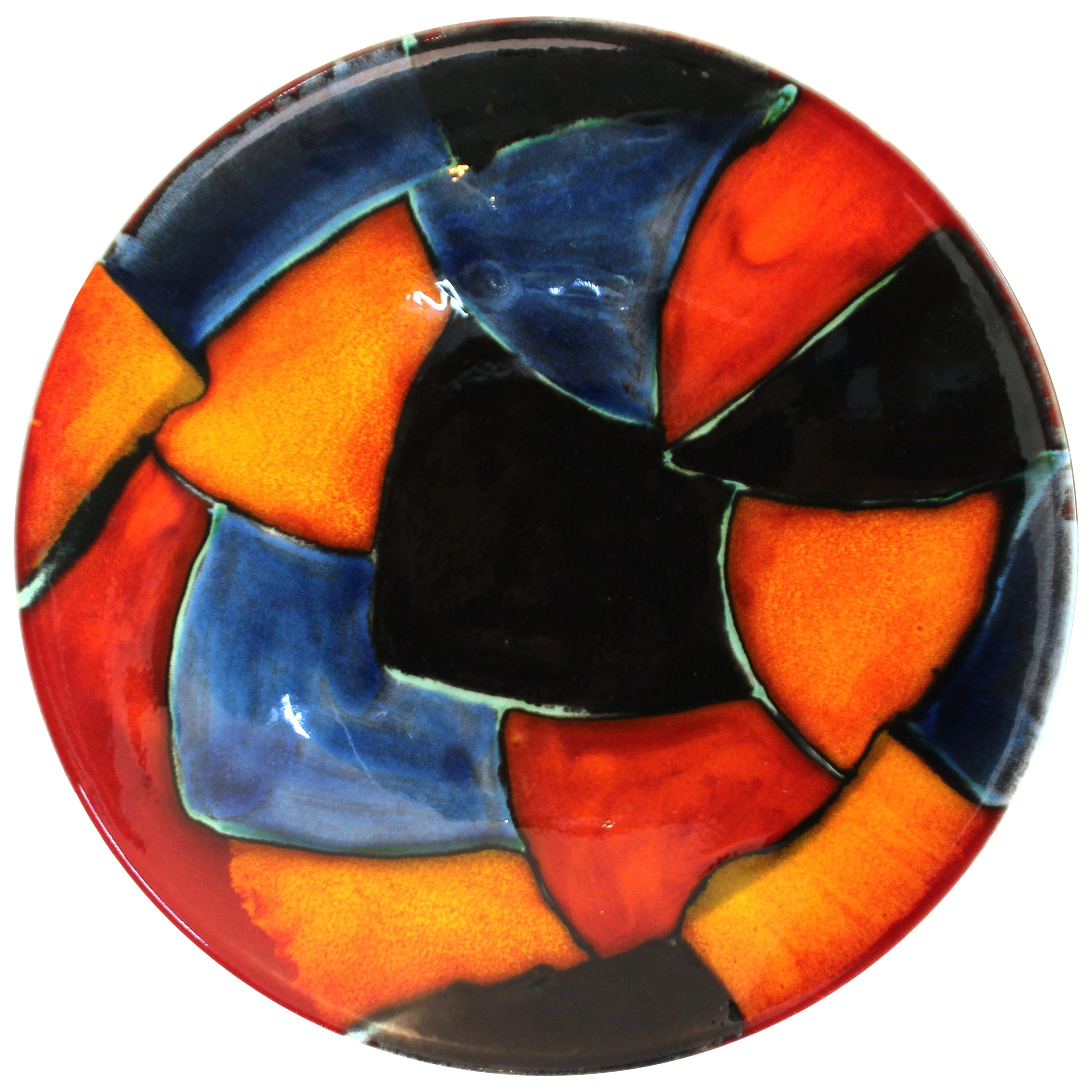 Poole English Pottery Postmodern Painted Centerpiece Charger Plate