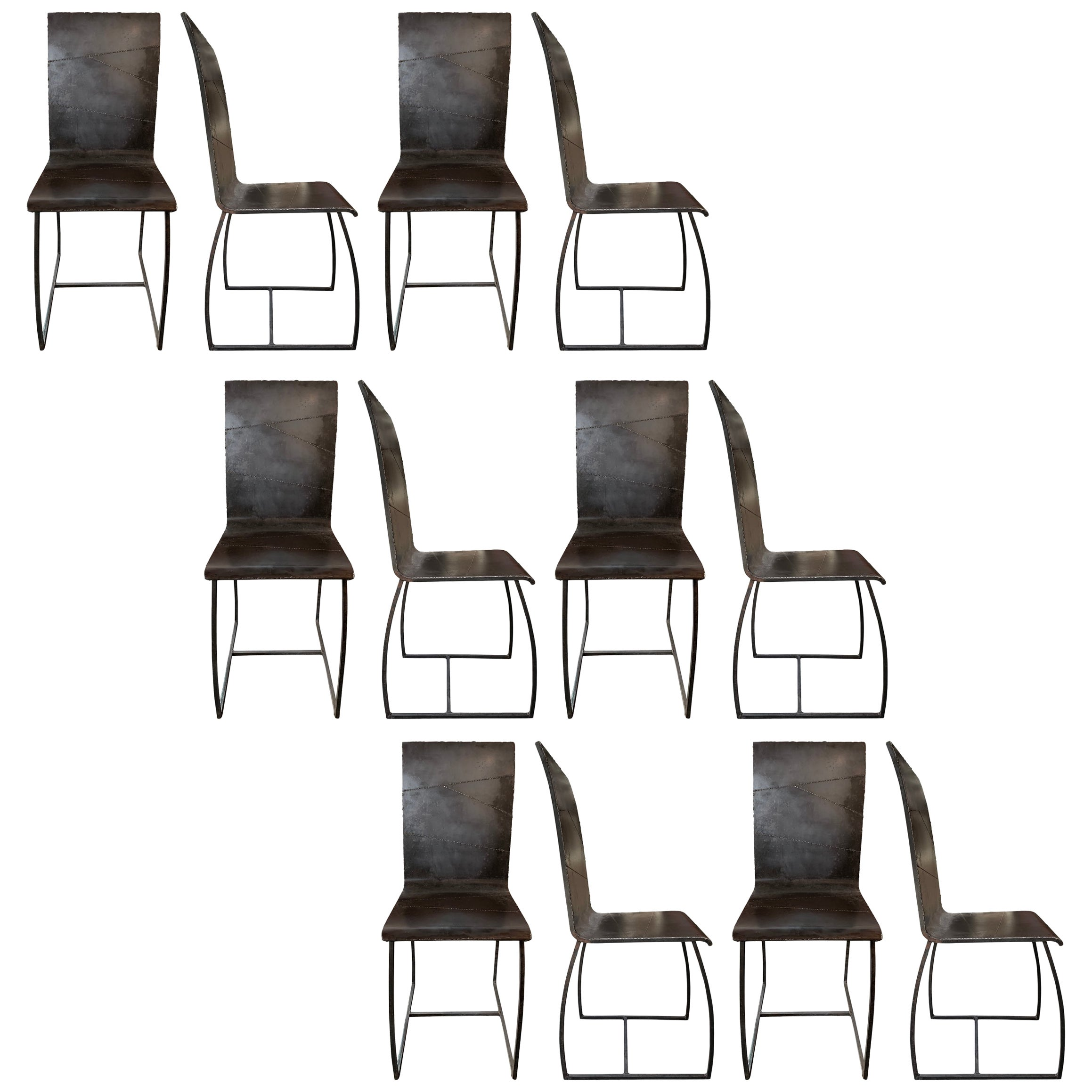Set of Twelve French Brutalist Dining Chairs