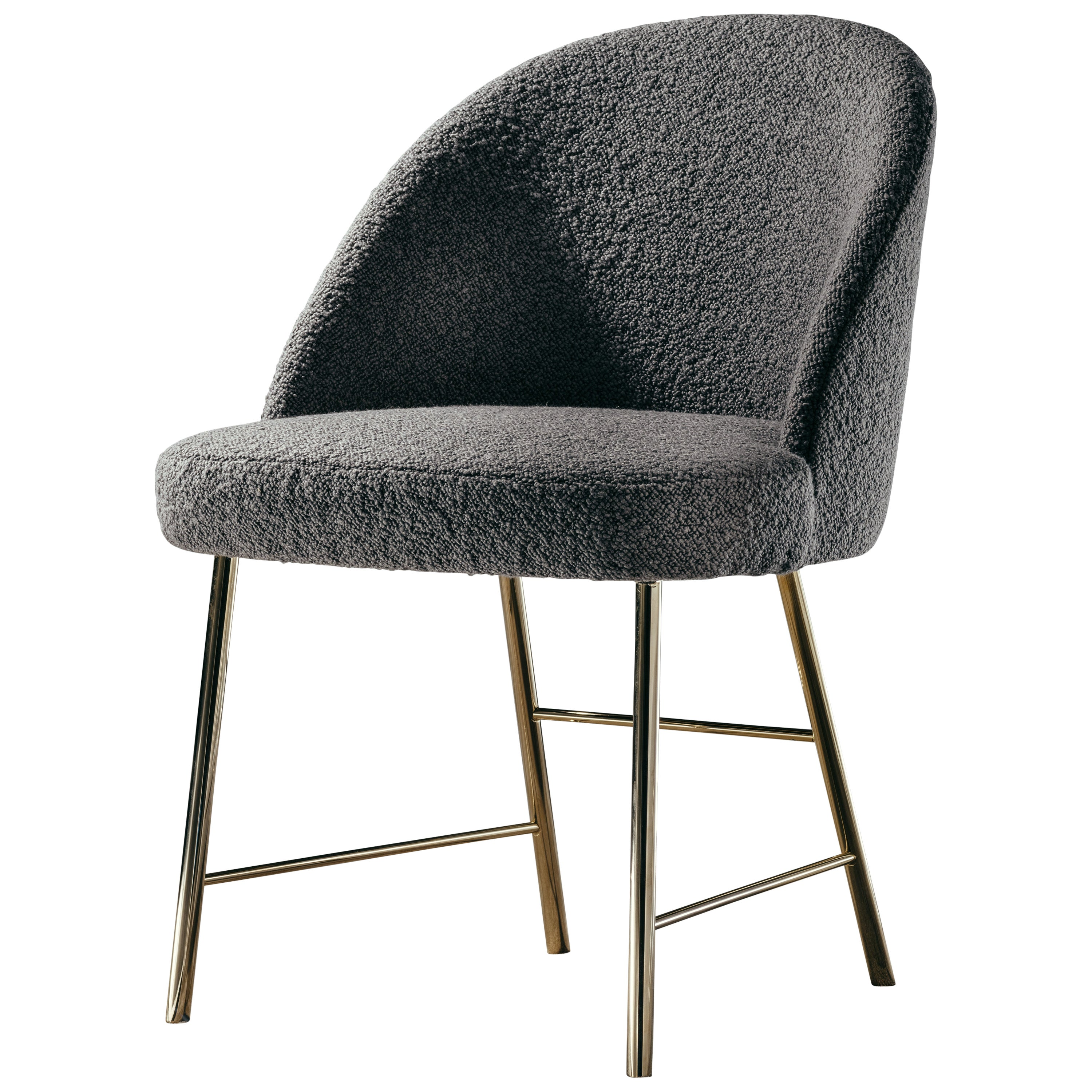 Avec Moi Chair in Boucle Fabric and Polished Brass