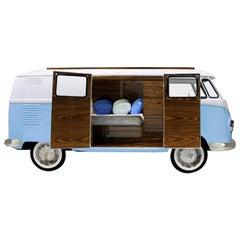 Additional Modifications, Bun Van Bed with Blue Exterior and Dark Wooden Doors
