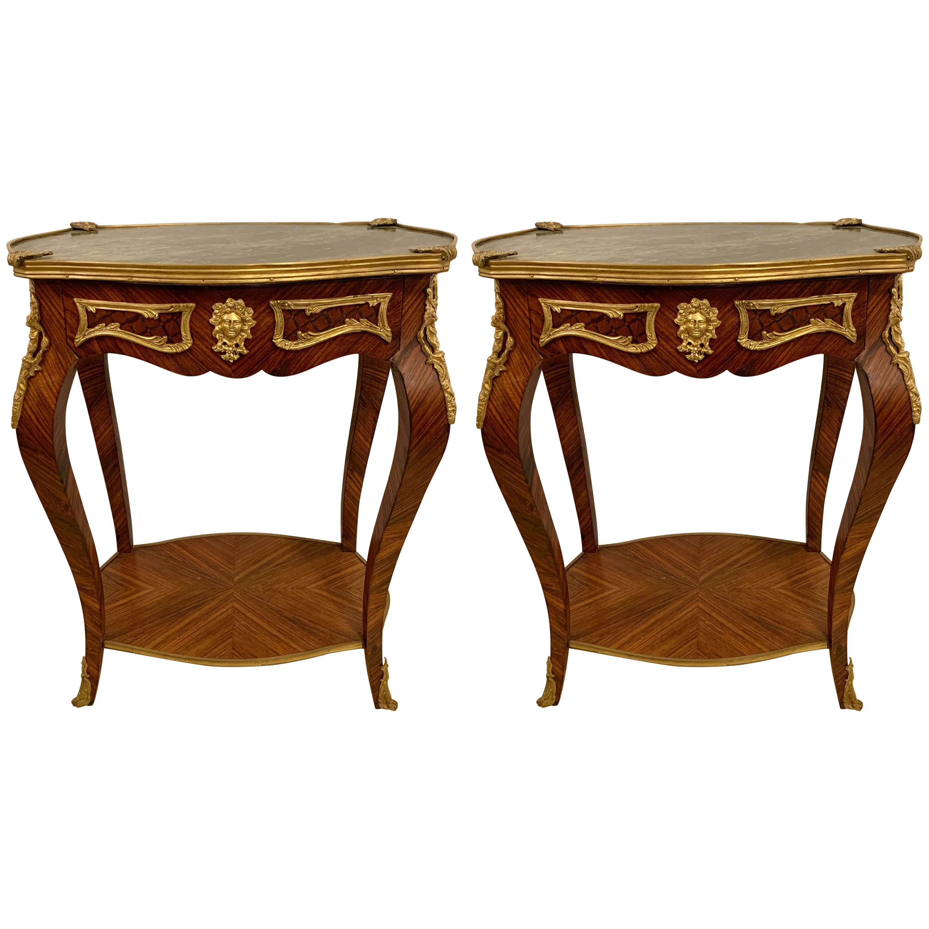 Louis XV Style French Marble Top End, Pedestal or Night Tables, a Pair