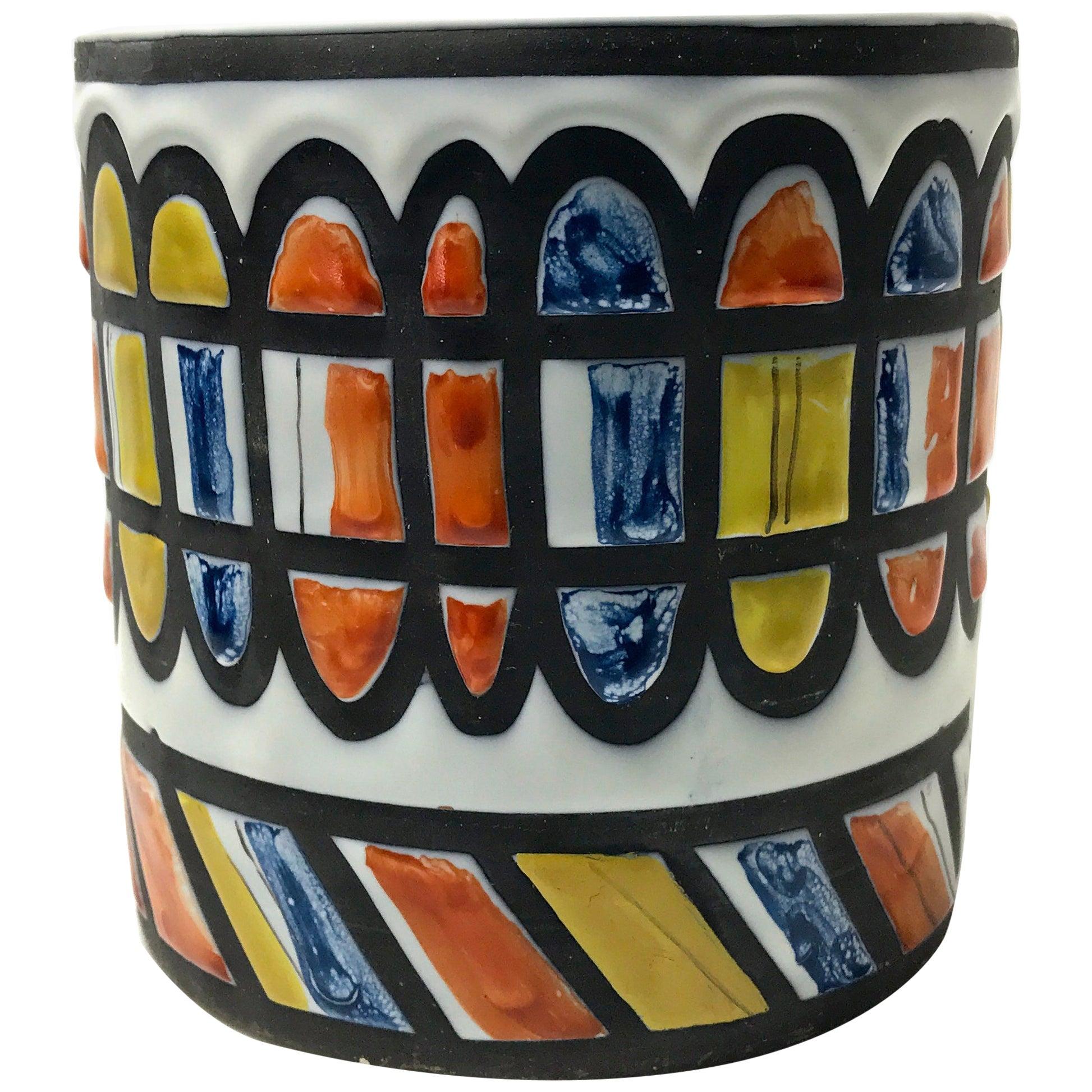 Roger Capron for Vallauris, Signed 1950 Ceramic Geometric Cachepot