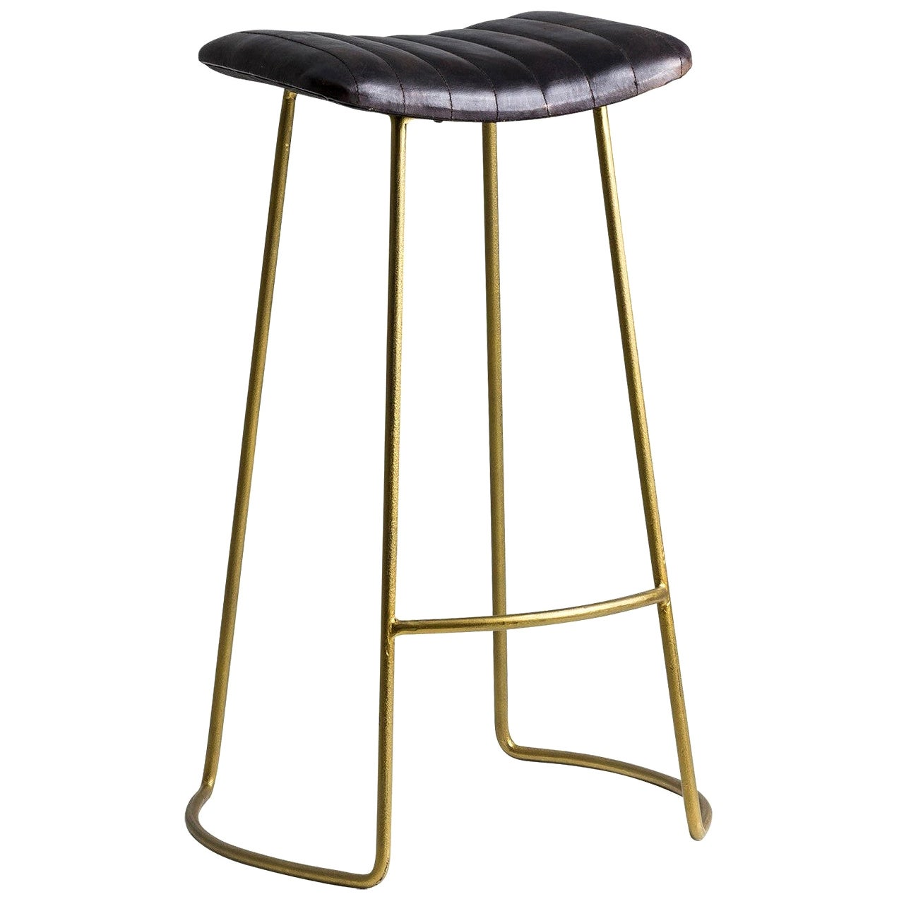 Gold Metal and Leather Bar Stool