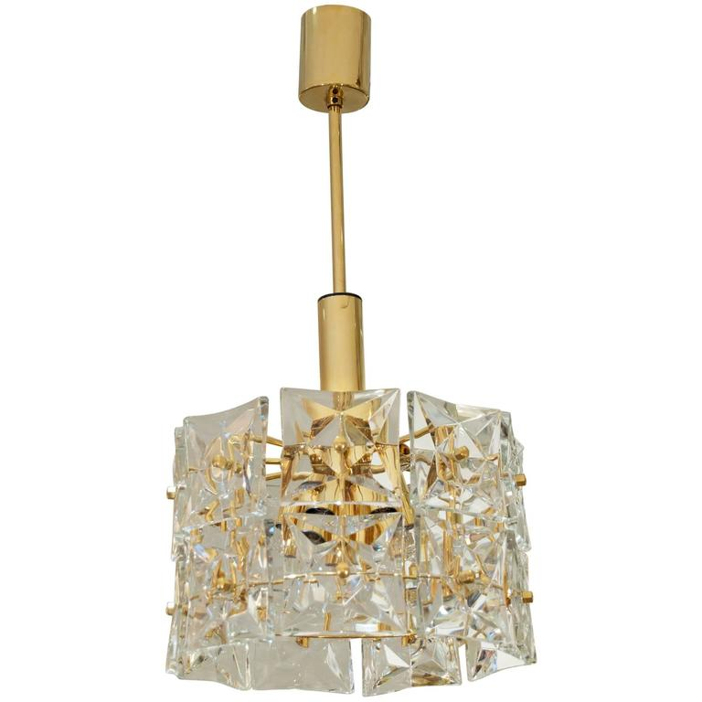 Dramatic Two-Tier Goldplate Kinkeldey Chandelier with Square Crystals