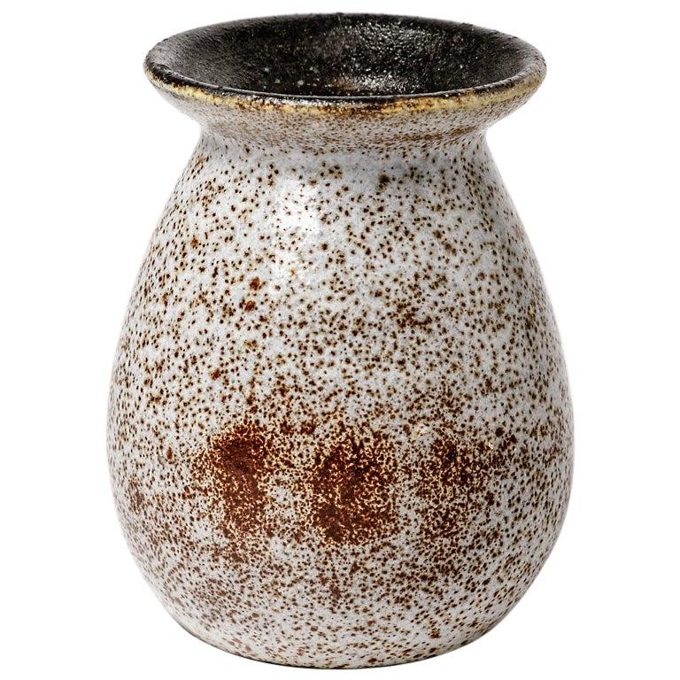 Accolay Ceramic Vase Design Grey and Brown Pottery Colors, circa 1970