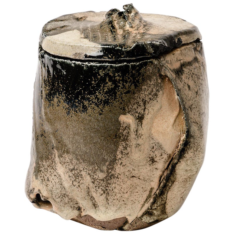 Stoneware Ceramic Box by C. Champy Abstract White and Black Colors
