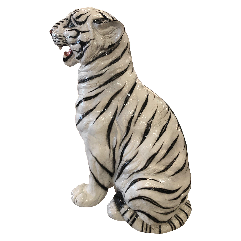 Vintage Hollywood Regency White Tiger Statue