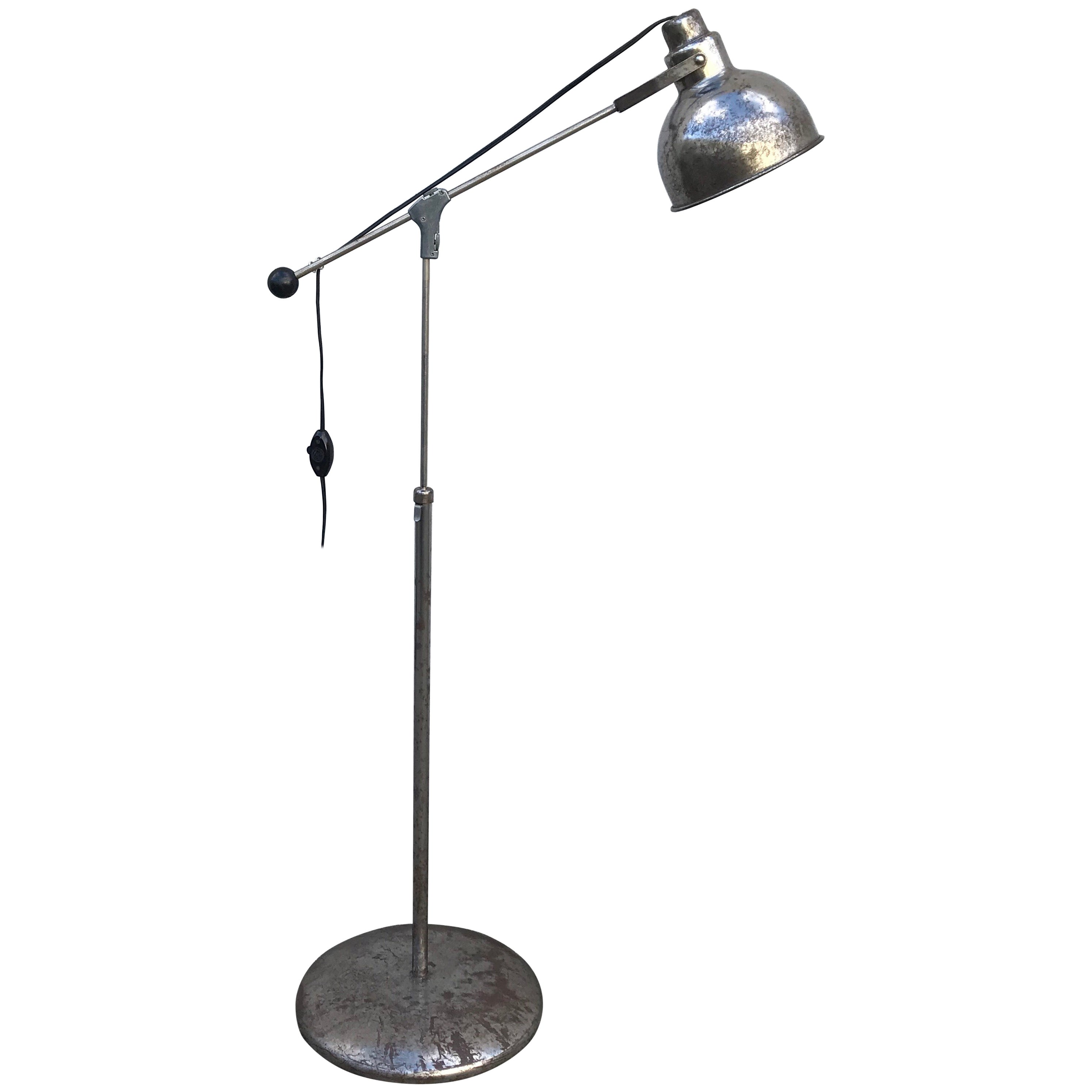 Machine Age Modern Industrial Steel Floor Lamp, Adjustable Height, 1930's